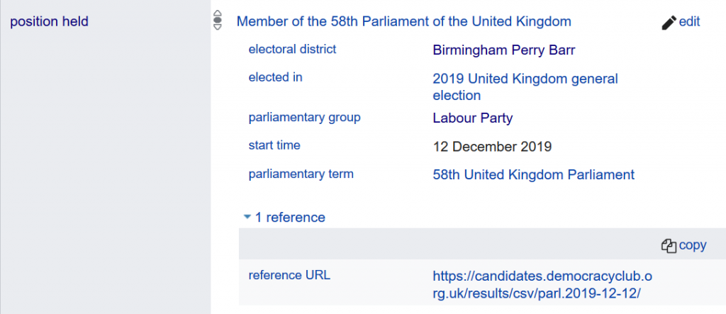 Wikidata records for Khalid Mahmood MP
