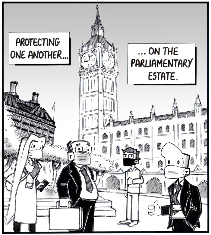Cartoon of the characters from w4mp's Hoby cartoon, all wearing face coverings, standing outside with the Elizabeth Tower and Portcullis House in the background
