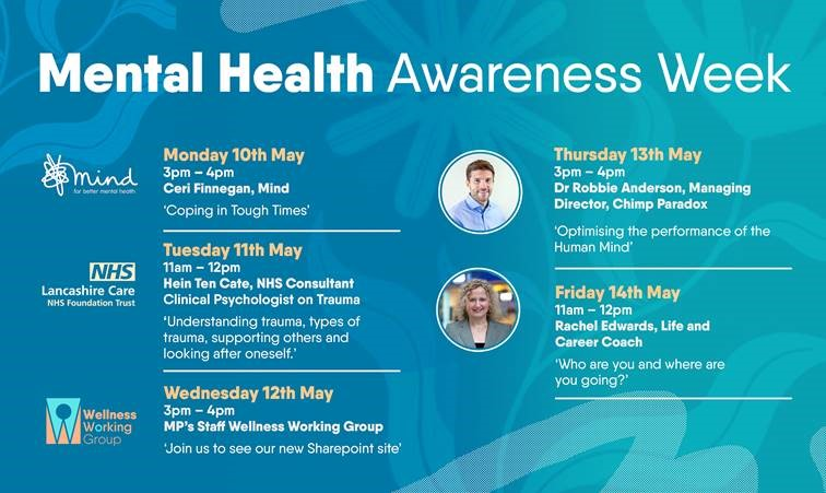 Image shows a poster listing the various events taking place on Mental Health Awareness Week